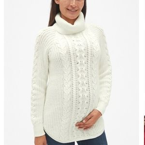 GAP Maternity| Cable Turtleneck Sweater S Snow Cap
